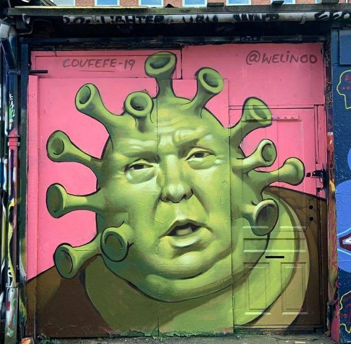Trump Korona Graffiti