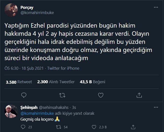 Ezhel parodisi yapan Porçay 4 yıl 2 ay hapis cezası aldı
